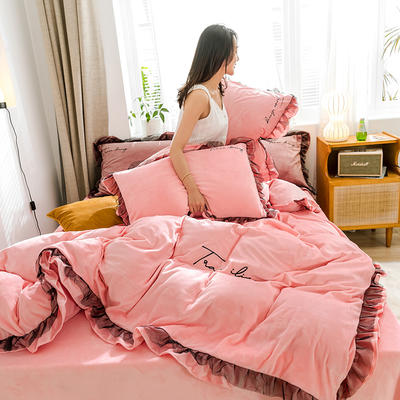 2019新款-水晶绒蕾丝边四件套 床单款四件套1.5m(5英尺)床 蕾丝-浅粉