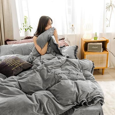 2019新款-水晶绒蕾丝边四件套 床单款四件套1.5m(5英尺)床 蕾丝-浅灰