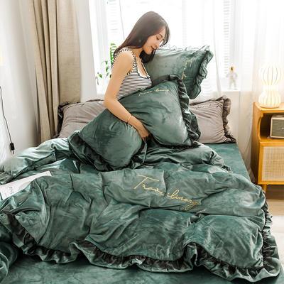 2019新款-水晶绒蕾丝边四件套 床单款四件套1.5m(5英尺)床 蕾丝-英伦绿