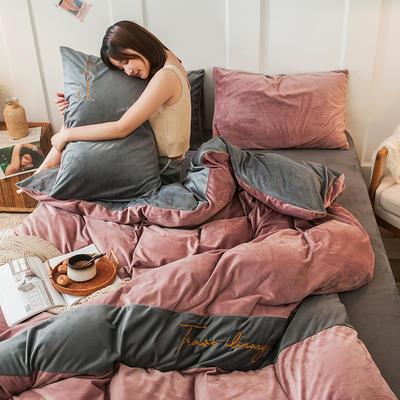 2019新款-水晶绒刺绣双拼四件套 床单款三件套1.2m(4英尺)床 刺绣-豆沙深灰