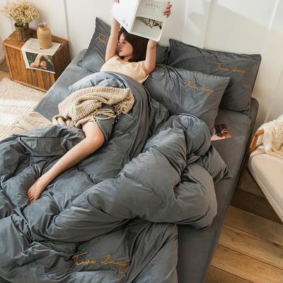 2019新款-水晶绒刺绣双拼四件套 床单款三件套1.2m(4英尺)床 刺绣-高级灰