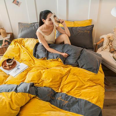 2019新款-水晶绒刺绣双拼四件套 床单款三件套1.2m(4英尺)床 刺绣-姜黄深灰