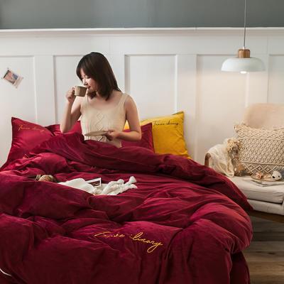 2019新款-水晶绒刺绣双拼四件套 床单款三件套1.2m(4英尺)床 刺绣-酒红