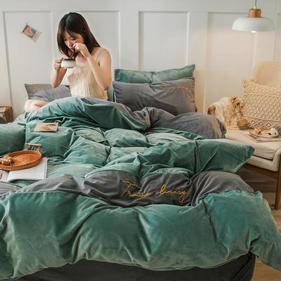 2019新款-水晶绒刺绣双拼四件套 床单款三件套1.2m(4英尺)床 刺绣-浅绿深灰