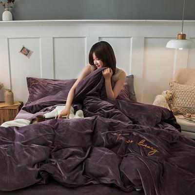 2019新款-水晶绒刺绣双拼四件套 床单款三件套1.2m(4英尺)床 刺绣-香芋紫