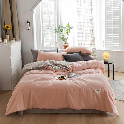2020春夏新品-全棉加厚水洗棉双拼款四件套 床单款四件套1.5m(5英尺)床 粉卡其