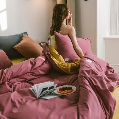 2020春夏新品-全棉加厚水洗棉双拼款四件套 床单款四件套1.5m(5英尺)床 海棠红姜黄