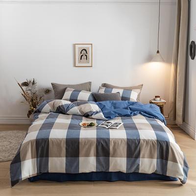 2020春夏新品-全棉加厚水洗棉双拼款四件套 床单款四件套1.5m(5英尺)床 蓝调格