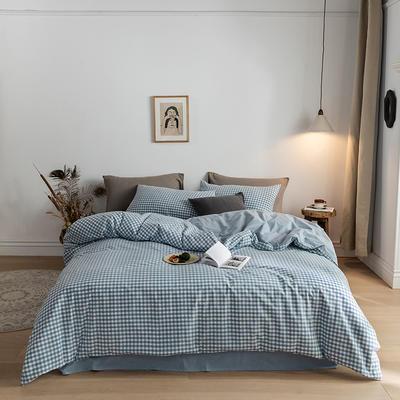 2020春夏新品-全棉加厚水洗棉双拼款四件套 床单款四件套1.5m(5英尺)床 蓝小格
