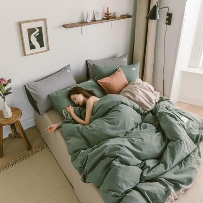 2020春夏新品-全棉加厚水洗棉双拼款四件套 床单款四件套1.5m(5英尺)床 绿卡其