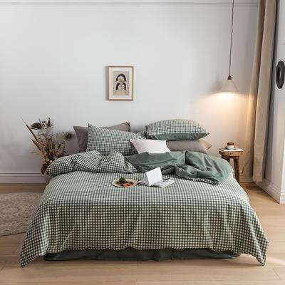 2020春夏新品-全棉加厚水洗棉双拼款四件套 床单款四件套1.5m(5英尺)床 绿小格