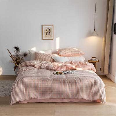 2020春夏新品-全棉加厚水洗棉双拼款四件套 床单款四件套1.5m(5英尺)床 蜜粉格