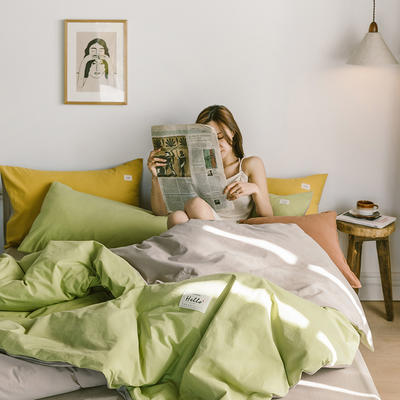 2020春夏新品-全棉加厚水洗棉双拼款四件套 床单款四件套1.5m(5英尺)床 抹茶卡其