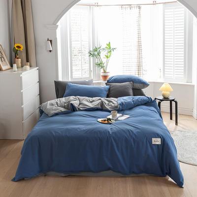 2020春夏新品-全棉加厚水洗棉双拼款四件套 床单款四件套1.5m(5英尺)床 牛仔蓝浅灰