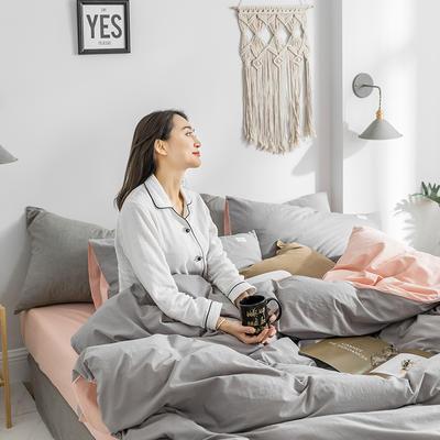 2020春夏新品-全棉加厚水洗棉双拼款四件套 床单款四件套1.5m(5英尺)床 浅灰粉