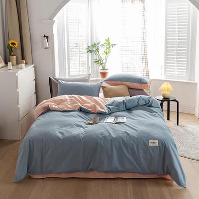 2020春夏新品-全棉加厚水洗棉双拼款四件套 床单款四件套1.5m(5英尺)床 浅蓝粉