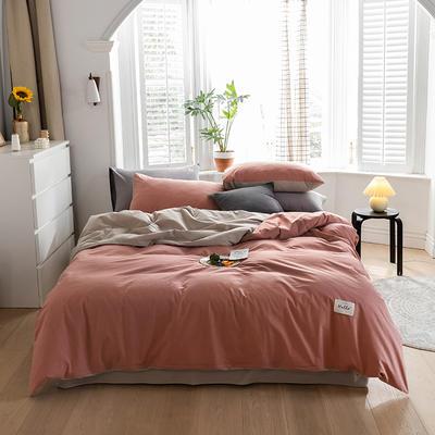 2020春夏新品-全棉加厚水洗棉双拼款四件套 床单款四件套1.5m(5英尺)床 珊瑚红卡其