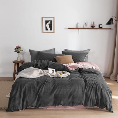 2020春夏新品-全棉加厚水洗棉双拼款四件套 床单款四件套1.5m(5英尺)床 绅士灰格