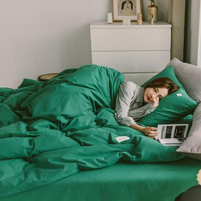 2020春夏新品-全棉加厚水洗棉双拼款四件套 床单款四件套1.5m(5英尺)床 素墨绿