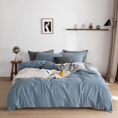 2020春夏新品-全棉加厚水洗棉双拼款四件套 床单款四件套1.5m(5英尺)床 雾蓝小格