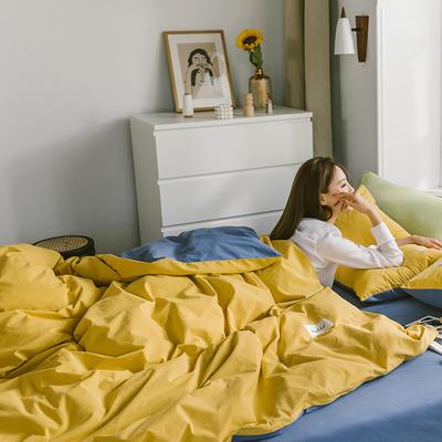 2020春夏新品-全棉加厚水洗棉双拼款四件套 床单款三件套1.2m(4英尺)床 杏黄牛仔蓝-1