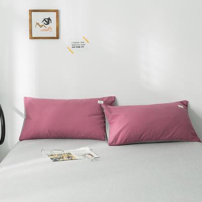 2020年春夏新品-全棉加厚水洗棉单品枕套 48cmX74cm/一对 海棠红浅灰
