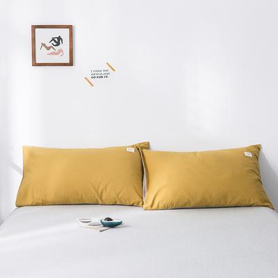 2020年春夏新品-全棉加厚水洗棉单品枕套 48cmX74cm/一对 黄卡其