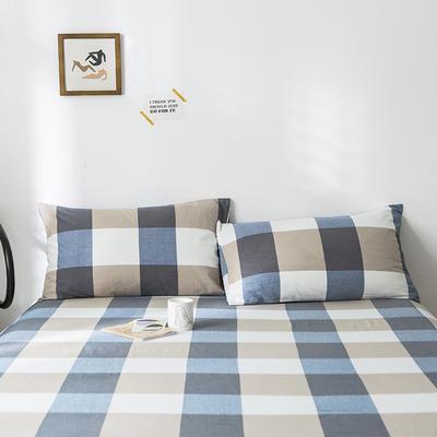 2020年春夏新品-全棉加厚水洗棉单品枕套 48cmX74cm/一对 蓝调格