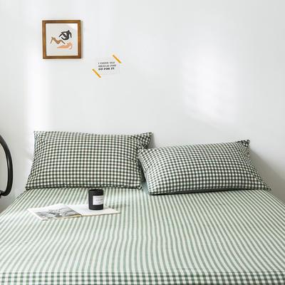 2020年春夏新品-全棉加厚水洗棉单品枕套 48cmX74cm/一对 绿小格