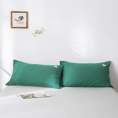 2020年春夏新品-全棉加厚水洗棉单品枕套 48cmX74cm/一对 墨绿浅灰