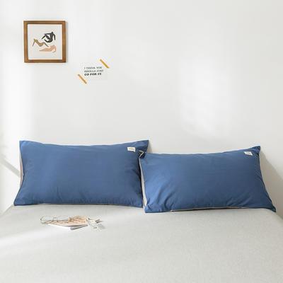 2020年春夏新品-全棉加厚水洗棉单品枕套 48cmX74cm/一对 牛仔蓝浅灰