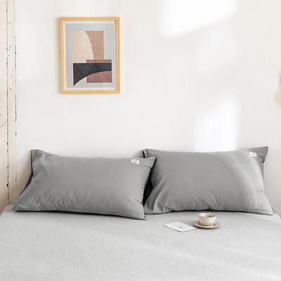 2020年春夏新品-全棉加厚水洗棉单品枕套 48cmX74cm/一对 浅灰深灰