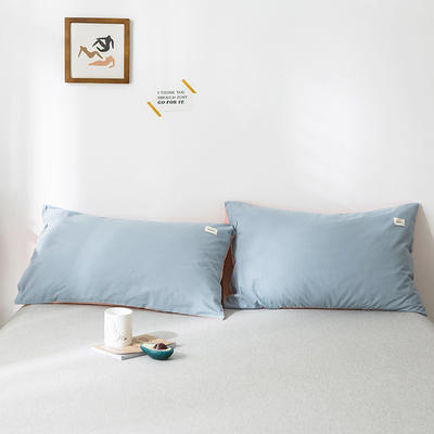 2020年春夏新品-全棉加厚水洗棉单品枕套 48cmX74cm/一对 浅蓝粉