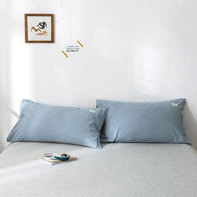 2020年春夏新品-全棉加厚水洗棉单品枕套 48cmX74cm/一对 浅蓝灰