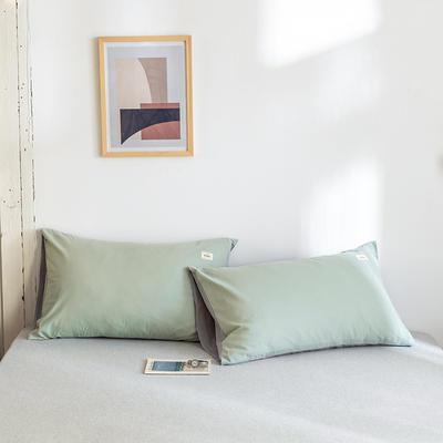 2020年春夏新品-全棉加厚水洗棉单品枕套 48cmX74cm/一对 水绿浅灰