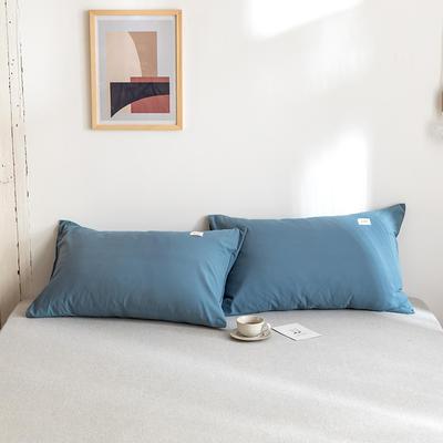 2020年春夏新品-全棉加厚水洗棉单品枕套 48cmX74cm/一对 素宾利蓝