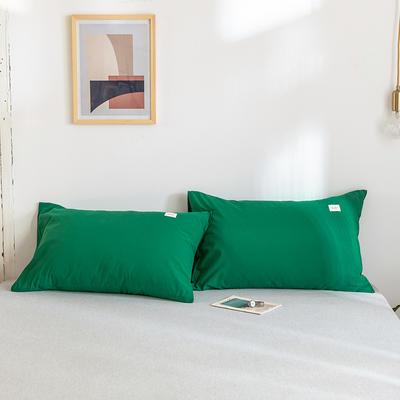 2020年春夏新品-全棉加厚水洗棉单品枕套 48cmX74cm/一对 素墨绿