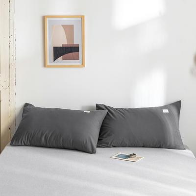 2020年春夏新品-全棉加厚水洗棉单品枕套 48cmX74cm/一对 素绅士灰
