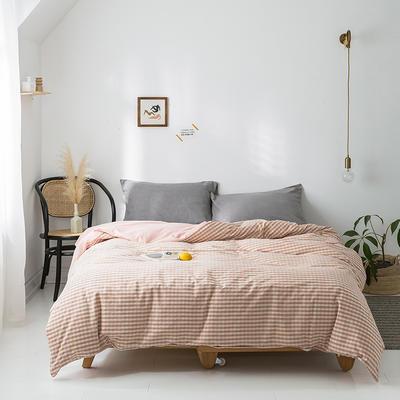 2020年春夏新品-全棉加厚水洗棉单品被套 180x220cm 蜜粉格