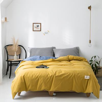 2020年春夏新品-全棉加厚水洗棉单品被套 155x210cm 杏黄牛仔蓝