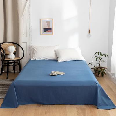 2020年春夏新品-全棉加厚水洗棉单品床单 120cmx230cm 宾利蓝