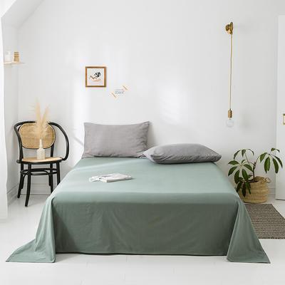2020年春夏新品-全棉加厚水洗棉单品床单 120cmx230cm 复古绿