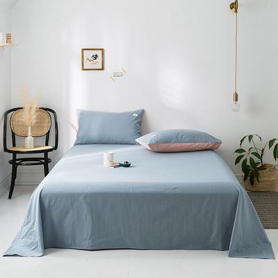 2020年春夏新品-全棉加厚水洗棉单品床单 160cmx230cm 湖蓝