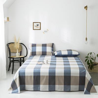 2020年春夏新品-全棉加厚水洗棉单品床单 160cmx230cm 蓝调格