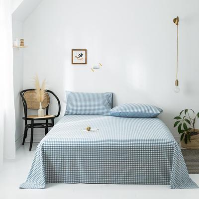 2020年春夏新品-全棉加厚水洗棉单品床单 120cmx230cm 蓝小格