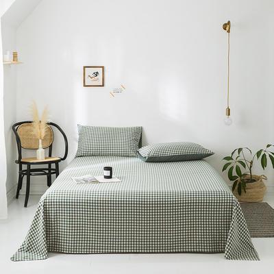 2020年春夏新品-全棉加厚水洗棉单品床单 120cmx230cm 绿小格