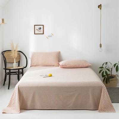 2020年春夏新品-全棉加厚水洗棉单品床单 160cmx230cm 蜜粉格