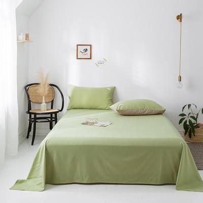 2020年春夏新品-全棉加厚水洗棉单品床单 160cmx230cm 抹茶绿