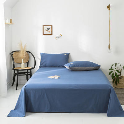 2020年春夏新品-全棉加厚水洗棉单品床单 160cmx230cm 牛仔蓝
