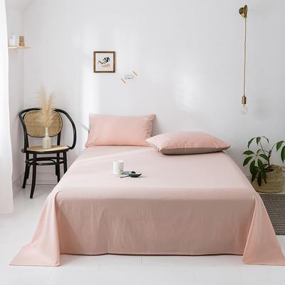 2020年春夏新品-全棉加厚水洗棉单品床单 120cmx230cm 浅粉